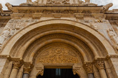 Wide view of  romanesque  archivolts and tympanum in San isidoro Stock Photography