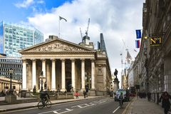 Wide view of the Royal Exchange building and surrounding area on a sunny day in spring. stock images