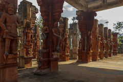Wide view of ruined sculptures of a king with sword, ancient woman greeting, Chennai, Tamilnadu, India, Jan 29 2017 Stock Photo