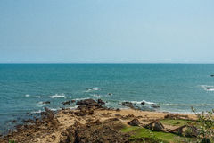 Wide view of ruined stone staircase with seashore background from viewpoint,Kailashgiri,Visakhapatnam,AndhraPradesh,March05 2017 Stock Photo