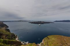 Wide view in Santorini. By the sea Royalty Free Stock Photography