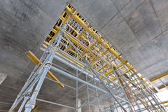 Wide view scaffolding inside the building Stock Photo