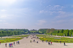 Wide view of Schenbrunn park and palace in Vienna Stock Images