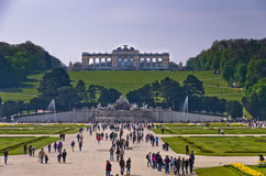 Wide view of Schenbrunn park and palace in Vienna Stock Photos