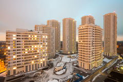 Wide view of several high-rise residential buildings Royalty Free Stock Image