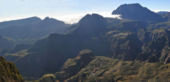 Wide View of Silaos Cirque of Reunion Island with the morning li Stock Photo
