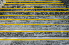 Wide View of Stairs with Risers. A horizontal view of concrete stairs with painted yellow risers stock image