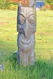 Sto:Lo First Nations Cemetery Carving. Wide view of a Sto:Lo First Nations carving seen on June 1, 2019 near Chilliwack, BC that is a grave site marker for one stock image