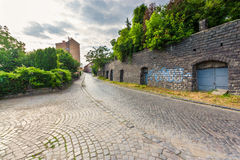 Wide view on street of old european city Royalty Free Stock Photography