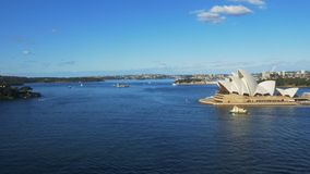 Wide view of sydney harbour from the bridge stock video footage