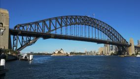 Wide view of sydney harbour from luna park stock video footage