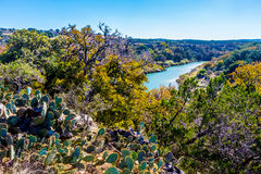 Wide View of the Texas Pedernales River from a High Bluff.  With Fall Foliage Royalty Free Stock Image