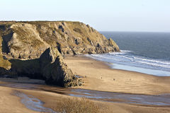 Wide view of Three Cliffs Bay, Gower Peninsular Royalty Free Stock Images