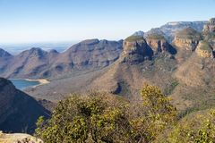 Wide view of Three Rondavels in South Africa royalty free stock images