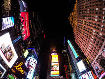 A wide view in time square, NYC. Royalty Free Stock Images