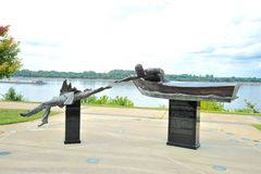 Wide-view of The Tom Lee Memorial, Memphis Tennessee Stock Photography