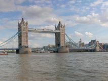 Wide view of tower bridge and river thames, london. Wide view of the tower bridge and river thames in london, United Kingdom royalty free stock photo