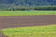 Wide View of Liquid Manure Spreader. Wide view of a tractor pulling a large liquid manure spreader from right to left across a cornfield Royalty Free Stock Photos