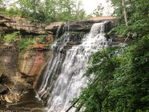 Wide view of waterfall at national park Royalty Free Stock Photography