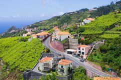 Wide view from. `Levada do Norte`, Madeira island, Portugal Royalty Free Stock Image