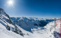 Wide view on winter alpine valley Royalty Free Stock Photo