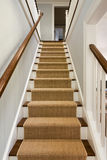 Wide View of wooden staircase. With carpet runner and white molding Royalty Free Stock Photos