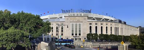 Wide view of Yankee Stadium in the Bronx New York. BRONX, NEW YORK, USA - SEPTEMBER 25: Wide view of Yankee Stadium. Taken September 25, 2017 in New York stock photo