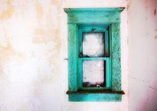 Bright teal vintage wooden window frame royalty free stock photo