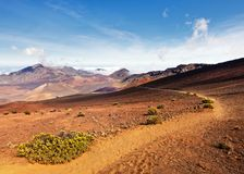 Hawaii Maui Haleakala volcano hiking trail stock image