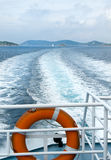 Wide wake seen from stern of boat Royalty Free Stock Images