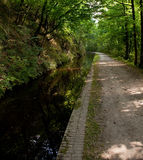 Wide walkway besides still deep canal. Canal cut out of the rockface with a bridleway leading into the distance royalty free stock image