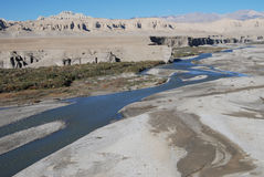 Wide west Tibet. The river of Langqên Zangbo ,or upper  reaches of Sutlej  river  in India Royalty Free Stock Photography