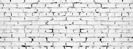 Free Wide White Brick Wall Texture. Aged Rough Whitewashed Brickwork. Grunge Background Royalty Free Stock Photos - 157899968