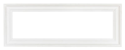 Wide white panoramic wooden picture frame Stock Images