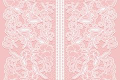 Wide white seamless lace ribbon on a pink background. Royalty Free Stock Photo