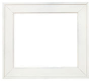 Wide white wood picture frame with cut out canvas Royalty Free Stock Photography