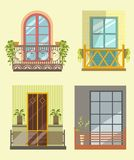 Wide windows with small cozy balcony in several styles Stock Photography