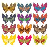 Wide wing butterflies. Bright color butterflies isolated on white Royalty Free Stock Photos