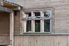 Wide wooden frame window of rural house, close-up. Wide wooden frame window of rural house, close up stock image