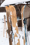 Wide wooden hunting skis Stock Photo