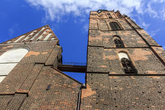 Wideangle, distorted photo of St. Elisabeth's Church, Wroclaw, P. Oland with intensely blue sky in background Stock Image