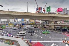 Wideangle foto av det industriella landskapet i Shinjuku, tokyo Arkivbild