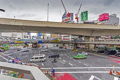 Wideangle foto van industrieel landschap in Shinjuku, Tokyo Stock Fotografie