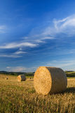 Wideangle Shot Of Bale On Field Royalty Free Stock Photography