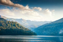 Widely panoramic view of the Goygol. Lake in Azerbaijan located in the reserve stock photography