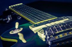 An electric guitar in close up stock photography