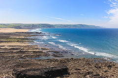 Widemouth Bay Cornwall. Atlantic Coastline and surfing beach Royalty Free Stock Images