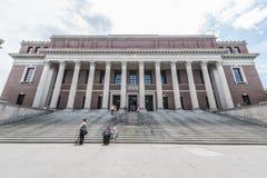 Widener Library of Harvard University. Boston, Massachusetts - July 5, 2013: Widener Library of Harvard University with students, July 12, 2013 Stock Photos
