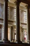 Widener Library, Harvard University. BOSTON, USA - SEPTEMBER 27, 2013: Columns at the entrance of Widener Library, Harvard University at night on September 27 Stock Photos