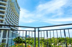 Wideness view in balcony of room on high-rise building Royalty Free Stock Photography